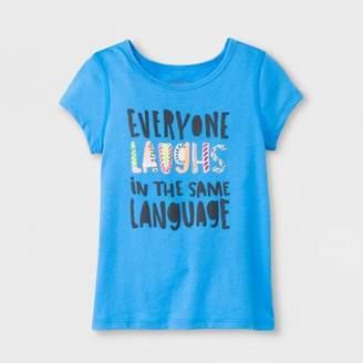 Cat & Jack Toddler Girls' Short Sleeve Adaptive Everyone Laughs Graphic T-Shirt Blue