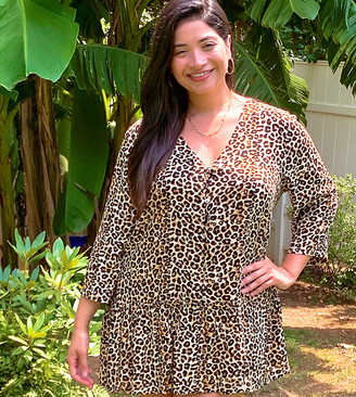 Simply Be smock blouse with frill hem in leopard