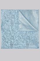 Moss 1851 Sky & Silver Swirl Silk Pocket Square