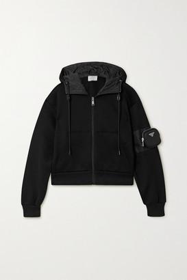 Prada Nylon-paneled Cotton-blend Jersey Hoodie - Black