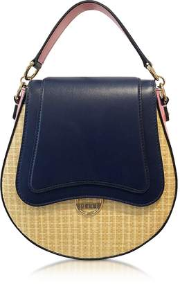 Emilio Pucci Leather and Natural Fiber Top Handle Bag