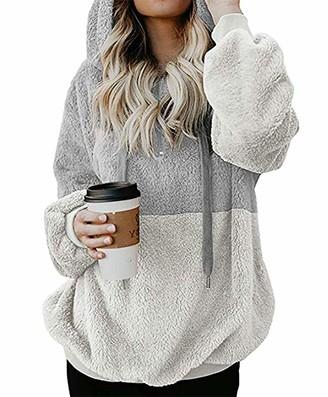 Kenoce Women Zip Up Plain Hoodie Long Sleeve Pullovers Sweatshirt Loose Coat with Pockets Light Grey L/UK 14