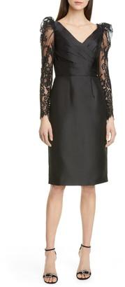 Pronovias Lace Long Sleeve Mikado Cocktail Dress