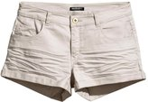 HaoDuoYi Womens Casual Sliod Color Ruched Shorts with Pockets(L,)