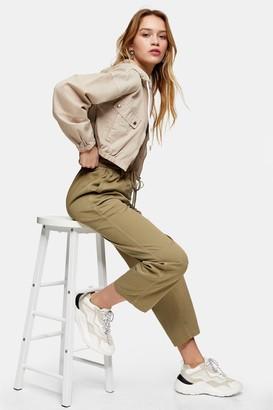 Topshop Womens Petite Khaki Slouch Trousers - Khaki