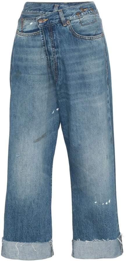 R 13 Crossover asymmetric high-rise straight-leg jeans