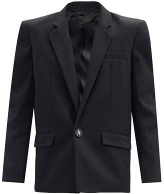 ATTICO Padded-shoulder Single-breasted Cotton Jacket - Black