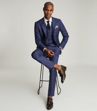 Reiss Christopher - Wool Slim Fit Waistcoat in Electric Blue