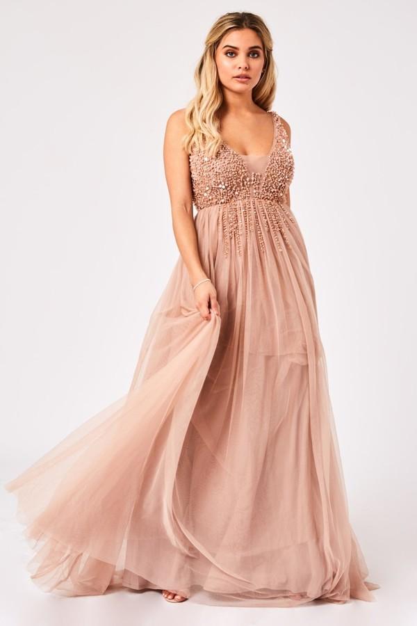 Little Mistress Issey Mink Hand Embellished Tulle Maxi Dress