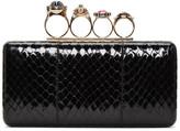 Alexander McQueen Black Snakeskin Ring Box Clutch
