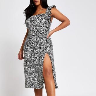 River Island Womens Plus Black printed frill midi dress