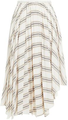 Brunello Cucinelli Asymmetric Gathered Striped Woven Midi Skirt