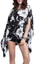 Marolaya Women's Chiffon Caftan Poncho Tunic Top Plus Size Blouse Shirt