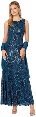 Alex Evenings Long Sleeveless Sequin Lace Dress with Shawl