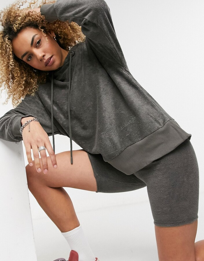 Thumbnail for your product : Collusion oversized towelling hoodie co-ord in charcoal