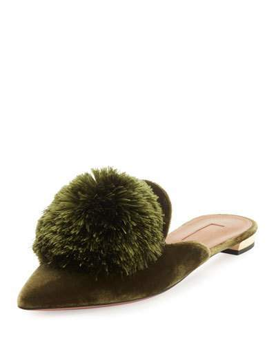Aquazzura Powder Puff Pompom Mule Flat, Moss Green