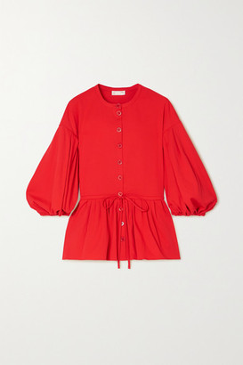 Stine Goya Ferrah Cotton-blend Jersey Peplum Blouse - Red