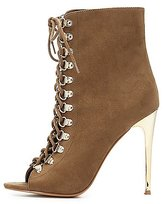 Charlotte Russe Lace-Up Peep Toe Ankle Booties