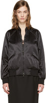Valentino Black Satin Rockstud Untitled Bomber Jacket