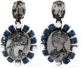 Oscar de la Renta Gunmetal-tone crystal and faux pearl clip earrings
