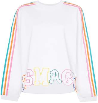 Mira Mikati rainbow stripe letter embroidered cotton jumper