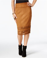 Thalia Sodi Faux-Suede Laser-Cutout Pencil Skirt, Only at Macy's