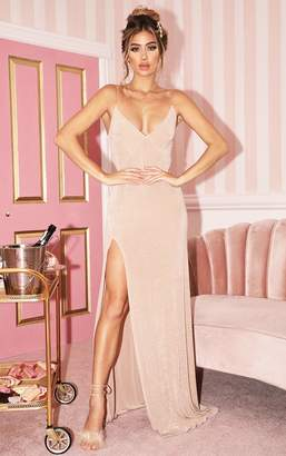 PrettyLittleThing Champagne Strappy Thigh Split Maxi Dress