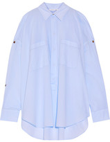 Helmut Lang Cutout Button-detailed Cotton-poplin Shirt - Light blue