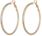 Natasha Accessories Mixed Metal Etched Hoop Earrings