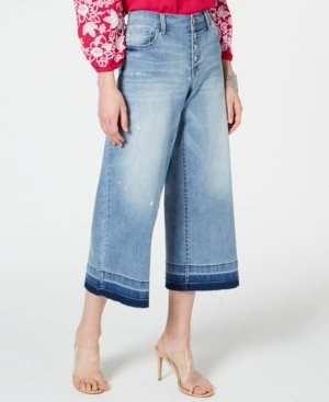 INC International Concepts Inc Cropped Wide-Leg Released-Hem Jeans, Created for Macy's