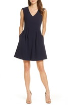 Vince Camuto Sleeveless Crepe Fit & Flare Dress