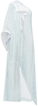 Halpern One-shouldered Sequinned Dress - Womens - Light Blue