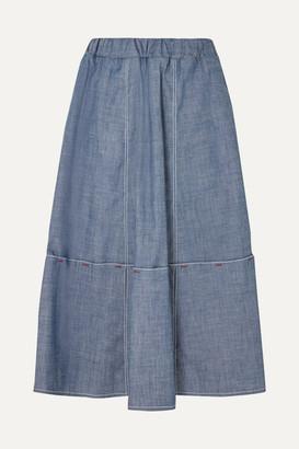 Marni Cotton-blend Chambray Skirt - Gray
