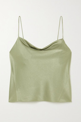 Alice + Olivia Harmon Draped Hammered-satin Camisole - Green