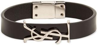 Saint Laurent Single Wrap Leather Bracelet