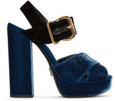Prada Blue & Black Velvet Platform Sandals
