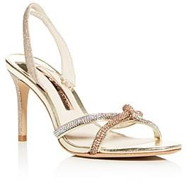 Sophia Webster Women's Giovanna Crystal Embellished Glitter Slingback Sandals