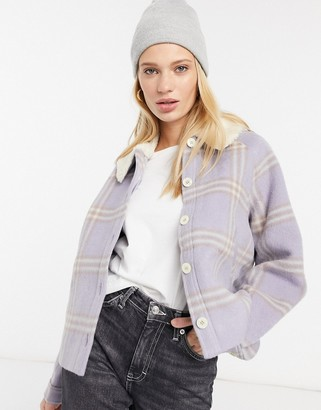 And other stories & wool check jacket with teddy collar in blue