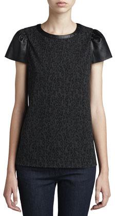 Ella Moss Frankie Leather-Sleeve Top