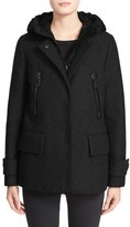Moncler 'Euphemia' Wool Blend Jacket with Removable Hooded Puffer Vest