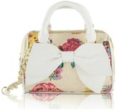 Betsey Johnson Floral Raffia Mini Crossbody Satchel Bag - Sand