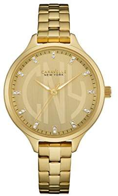 Caravelle New York Rose Gold Slimline Women's Quartz Watch with Gold Dial Analogue Display and Yellow Gold Bracelet 44L206