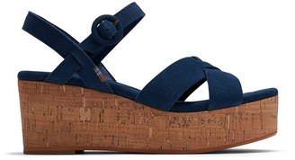 Toms Majolica Blue Suede Women's Willow Wedges