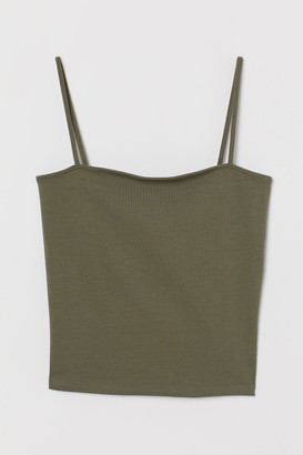 H&M Cropped Jersey Camisole Top - Green