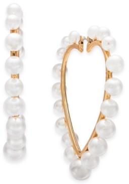 Thalia Sodi Gold-Tone Imitation Pearl Heart Hoop Earrings, Created for Macy's