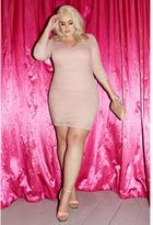 Quiz Curve Pink Lace Ruched 3/4 Sleeve Bodycon Dress