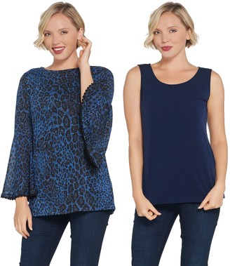 Susan Graver Foiled Sweater Knit Tunic and Knit Tank Set