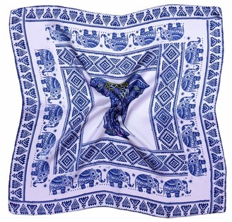 Bees Knees Fashion Blue White Elephant Thick Small Silk Square Scarf