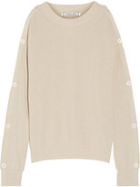 Helmut Lang Cutout Button-detailed Cotton And Cashmere-blend Sweater - Beige