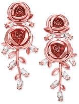 Kate Spade Rose Gold-Tone Crystal Flower Drop Earrings